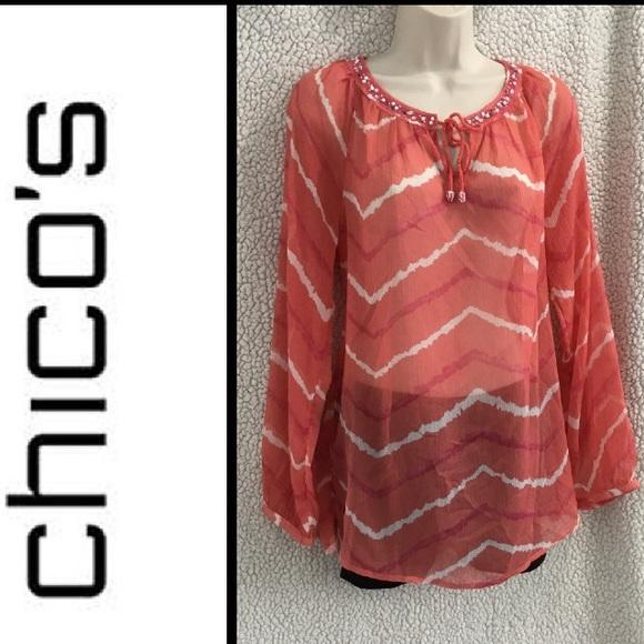 CHICO'S Silk Long Sleeve Tunic Orange
